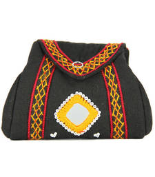 Buy Womens Cottage Black cotton samosa purse wallet online