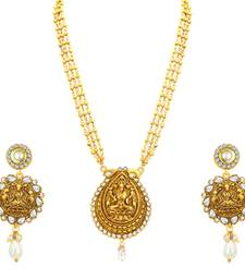 Buy Marvellous Laxmi Temple Gold Plated Necklace Set For Women necklace-set online