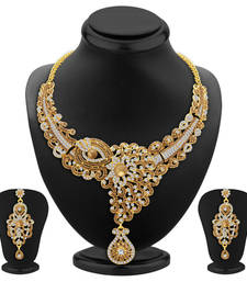 Buy Glorious LCT Stone Gold Plated AD Necklace Set For Women eid-jewellery online