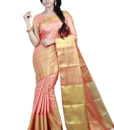 Buy Orange woven tussar silk saree With Blouse tussar-silk-saree online