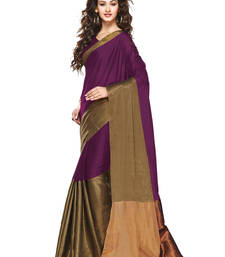 Buy Magenta Golden woven Cotton Blend saree With Blouse cotton-saree online