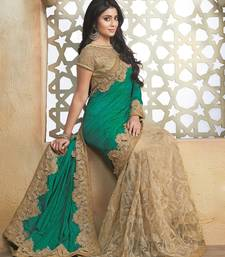 Buy rama green embroidered art silk saree with blouse bridal-saree online
