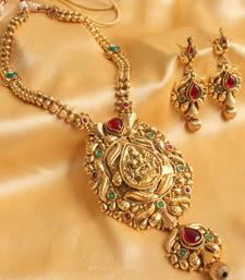 Buy GORGEOUS ROYAL LONG ANTIQUE LAKSHMI KEMP HAAR SET necklace-set online