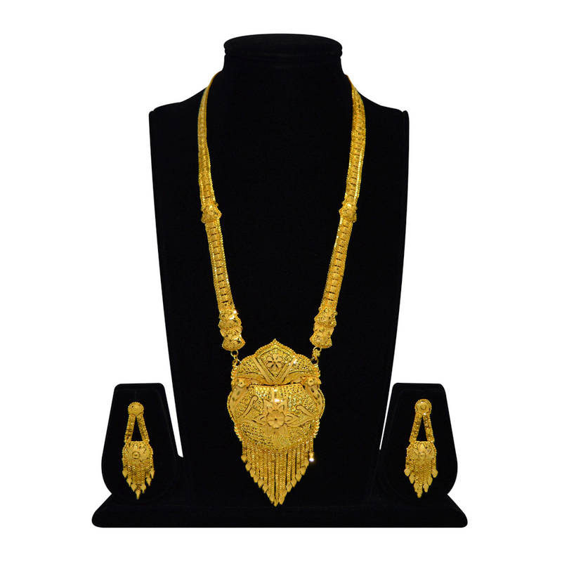 Buy Gold Look Long Haar Necklace Set Online