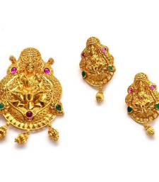 Buy Anvi's lakshmi (temple jewellery) pendent and earrings Pendant online