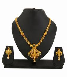 Buy Temple Jewellery Goddess Laxmi Necklace Earrings Set for women necklace-set online