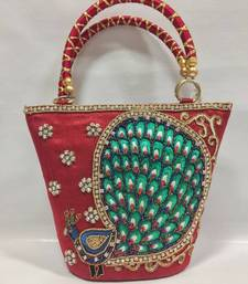 Buy Peacock Design Embroidery Handbag in Red handbag online