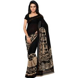 Buy Black And Beige printed georgette saree With Blouse party-wear-saree online