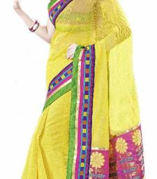 SUPERNET YELLOW COTTON  BANARASI PALLU SAREE shop online