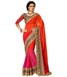Buy Orange embroidred chiffon saree with blouse chiffon-saree online