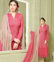 Buy Pink and beige chiffon and nazneen embroidered unstitched salwar with dupatta dress-material online