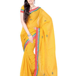 Buy Sunglow Yellow Zari Brocade Kota Sari cotton-saree online