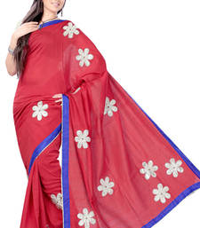 Buy Amaranth Red Patch Work Kota Sari cotton-saree online