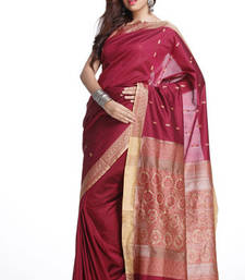 Buy Thread work Border, Pallu Burgundy Red Art Silk Saree art-silk-saree online