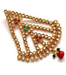 Buy Anvi's white stones jhumar with green and red stones hair-accessory online