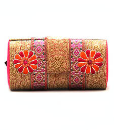 Buy FAVOLA DESIGNER RESHAM WORK SILK BROCADE BOX CLUTCH BAG clutch online
