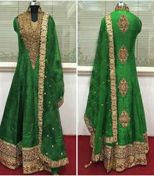 Buy green cotton silk embroidered semi stitiched salwar with dupatta anarkali-salwar-kameez online