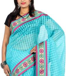Buy Designer Cotton Silk Check Fancy Banarasi Border saree cotton-saree online