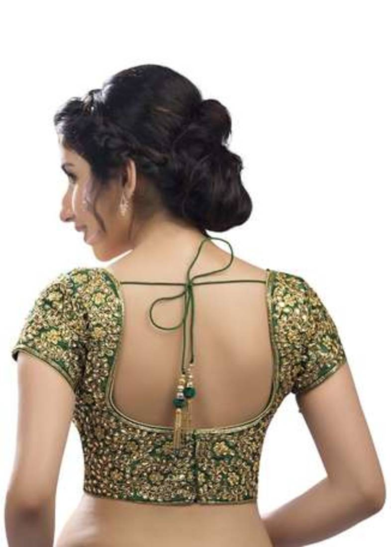 Buy Green Kundan Work Stitched Dupion Silk Readymade