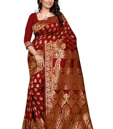 Buy Maroon plain Banarasi silk saree With Blouse kanchipuram-silk-saree online