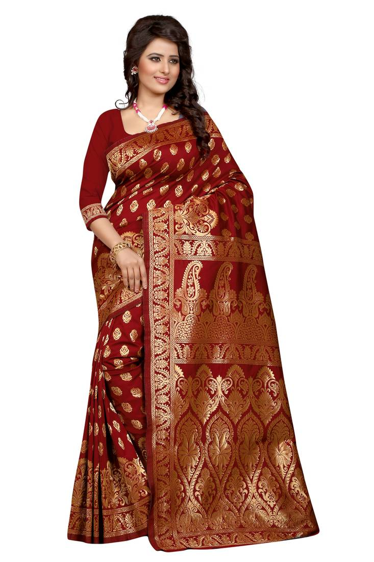 Buy Maroon Plain Banarasi Silk Saree With Blouse Online