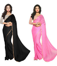 Buy Black & Pink printed Chiffon saree With Blouse sarees-combo-sari online