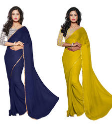 Buy Blue & Yellow printed Chiffon saree With Blouse sarees-combo-sari online