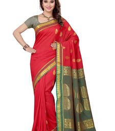 Buy Red woven south silk saree with blouse silk-saree online