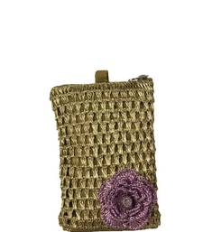 Buy Mobile Crochet Pouch in Copper Zari with Motif in Lavender phone-case online