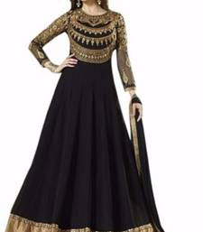 Buy Black color very attractive georgette embroidered semi stitched gown with dupatta party-wear-salwar-kameez online