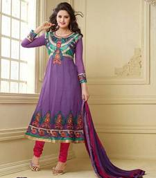 Buy Designer Purple Semi-Stitched Anarkali Suit dress-material online