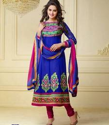 Buy Devine Blue Semi-Stitched Anarkali Suit dress-material online
