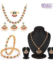 Buy Sukkhi Marvellous Gold and Rhodium plated Navratna Combo 102REDF4300 jewellery-combo online