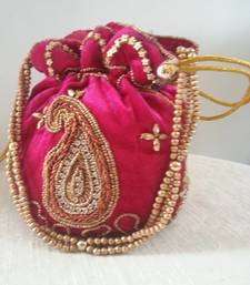 Buy magenta embroidered potli-bags potli-bag online