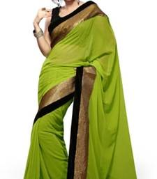 Buy mehendi plain faux georgette saree with blouse georgette-saree online