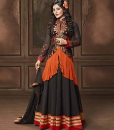 Buy Black embroidered georgette semi stitched salwar with dupatta indowestern online