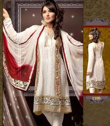Buy Off white Georgette Chanderi Pakistani style dress material SC 1100 pakistani-salwar-kameez online