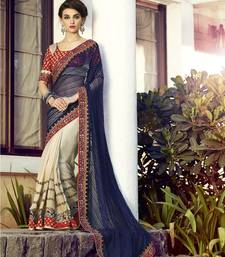 Buy Neavy blue and beige embroidered jacquard saree with blouse jacquard-saree online