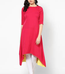 Buy Pink plain Cotton kurtas-and-kurtis kurtis-below-400 online