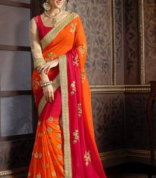 Buy georgette saree by Ravechi Fab (Red) georgette-saree online