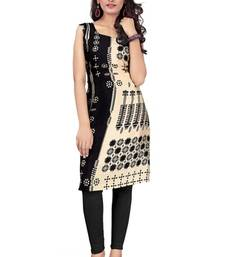 Buy Black and cream printed crepe semi stitched kurti punjabi-kurti online