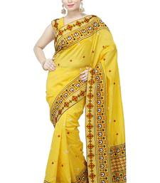 Buy golden embroidered silk saree With Blouse ethnic-saree online