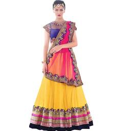 Buy Yellow embroidered net unstitched lehenga choli lehenga-choli online