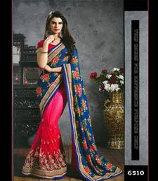 Buy aqua_blue embroidered georgette saree With Blouse brasso-saree online
