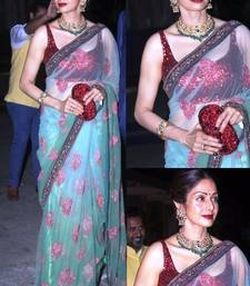 Buy green embroidered Net saree With Blouse sridevi-saree online