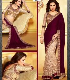 Buy maroon embroidered velvet saree With Blouse designer-embroidered-saree online