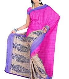 Buy Pavecha's Surat Synthetic Crepe Printed Saree - Pink MK730 crepe-saree online