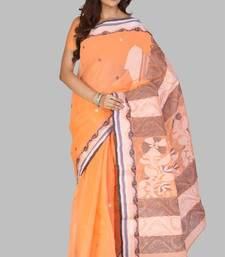 Buy Pink-orange Cotton Handloom Party and Festival Saree cotton-saree online