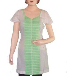 Buy Ethnic Touch - White and Green Kurti with weaving work kurtas-and-kurti online