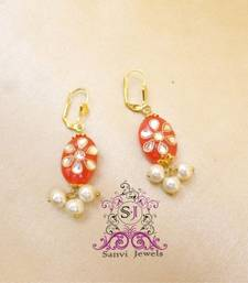 Buy Pink Kundan & Pearl Earrings hoop online